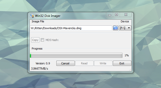 How to write dmg file in windows 7