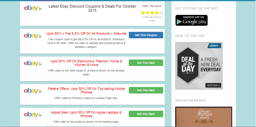 EBay India Promo Codes November get 70% Off EBay 70% off Get Deal ebay india coupon codes go to staffray.ml Total 21 active staffray.ml Promotion Codes & Deals are listed and the latest one is updated on October 17, ; 9 coupons and 12 deals which offer up to 70% Off and extra discount, make sure to use one of them when you're shopping for staffray.ml; Dealscove promise you'll get the .