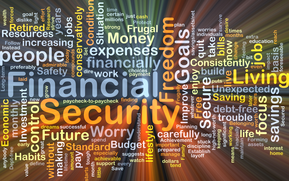 Background concept wordcloud illustration of financial security glowing light
