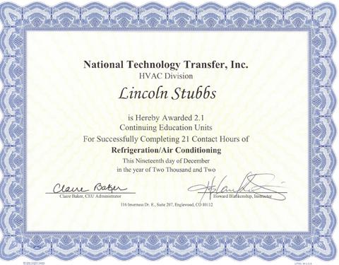 HVAC Certificate, Source: www.balancedhvac.com
