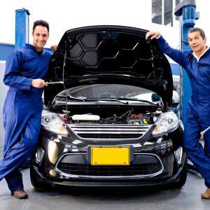 Mechanics at a car repair shop