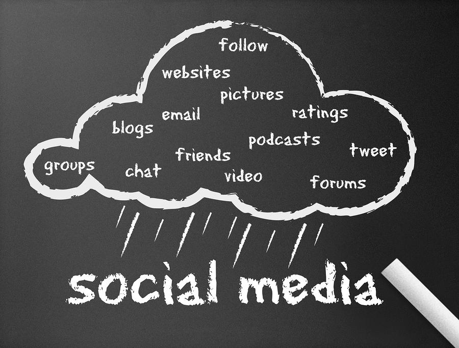 Dark chalkboard with the word Social Media illustration.
