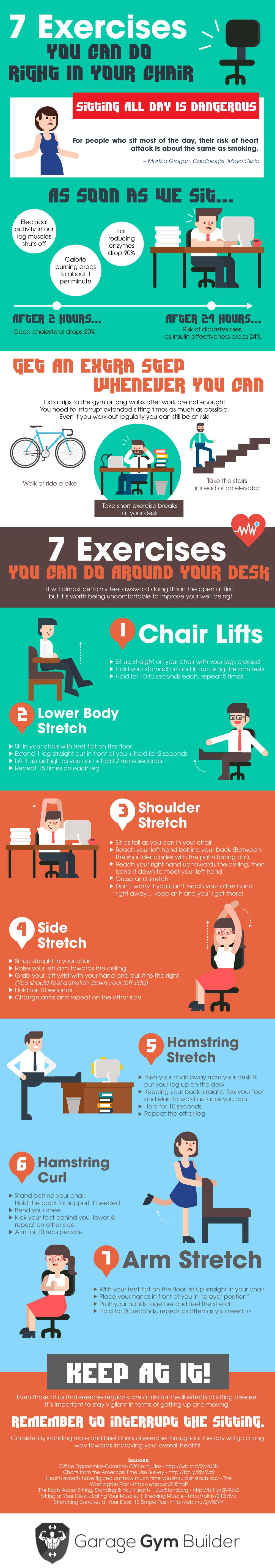 7 Exercises You Can Do Right In Your Chair! [Infographic ...