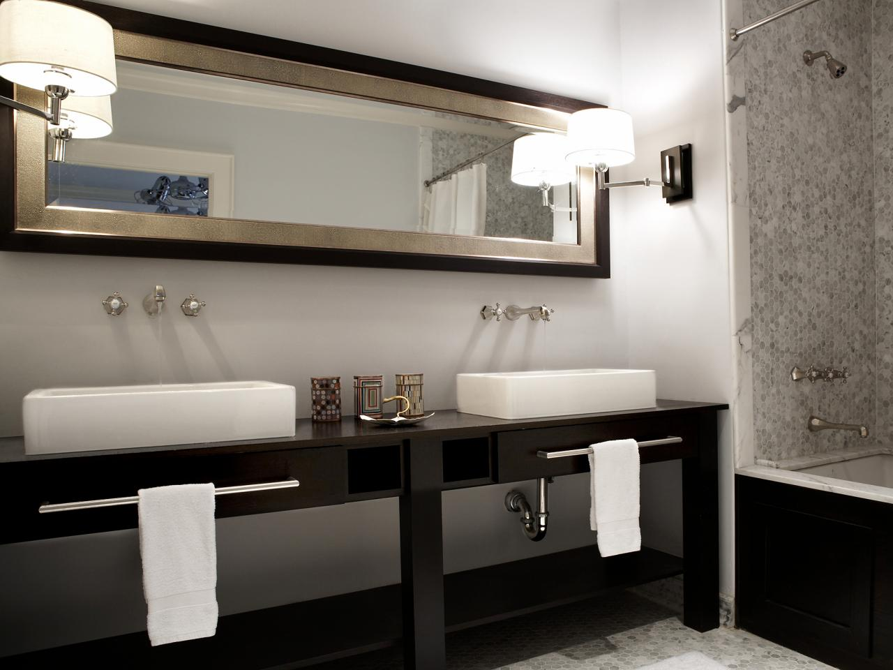 Lovely Depending on the amount of space you have in your bathroom it is advisable to give a larger space to the sink You may install two taps spaced out or have