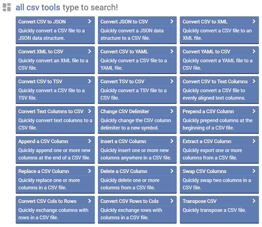 Online CSV Tools – Swiss Army Knife of CSV Editing   Techno FAQ