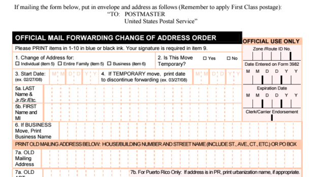 Change Your Address When Moving