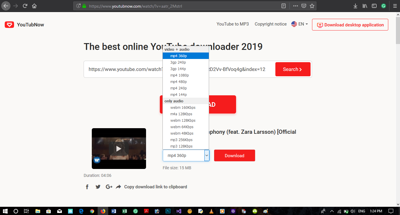download video from youtube url