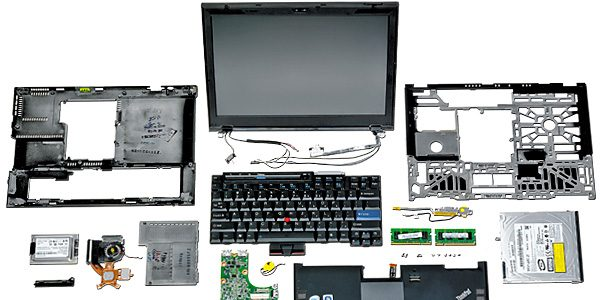 An old laptop disassembled