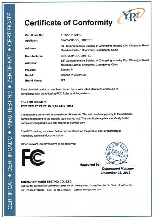 FCC Certificate granted for Banana Pi Single-board Computer