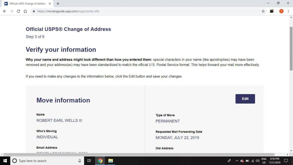 us postal service change of address history
