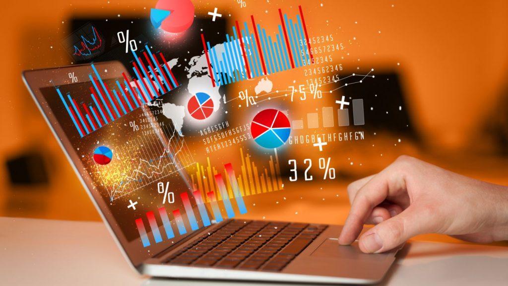 data now stocks technology future buy customer google got graph 2020 typing notebook laptop icons computer modern hand tech cognitive