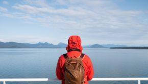 Alaska, Orange Jacket, Man, Cruise Ship, Mountains