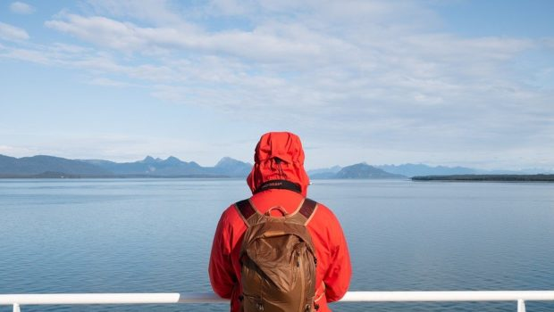 Alaska, Orange Jacket, Man, Cruise Ship, Mountains