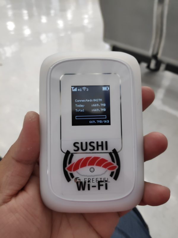 Pocket Wi-Fi router rented from Sushi Wi-Fi