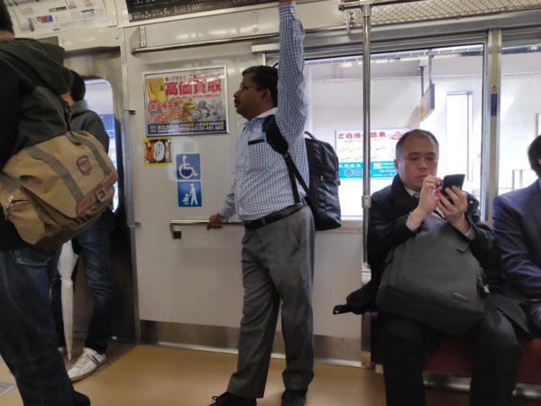 Inside of a commuter train in Tokyo