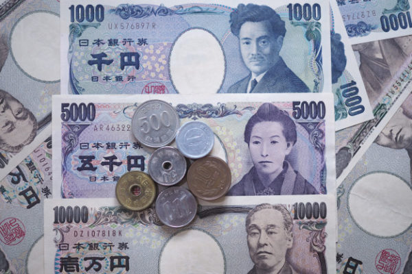 Japanese Yen notes and coins