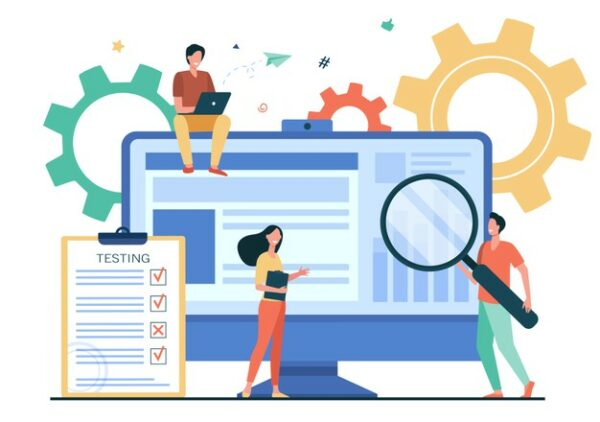 Tiny people testing quality assurance in software isolated flat vector illustration. cartoon character fixing bugs in hardware device. application test and it service concept Free Vector