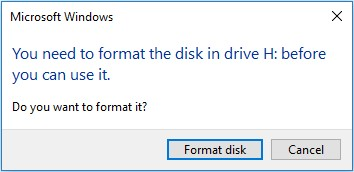 You need to format the disk in drive before you can use it